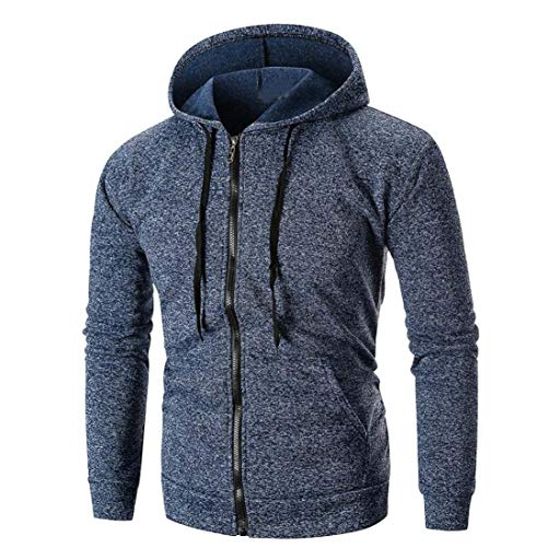 Men's Sweatshirt Solid Color Hoodies Full Sleeve-Front Zip Premium Hood 2 Kangaroo Split Pocket Top Outwear Blouse (XXL, Navy)