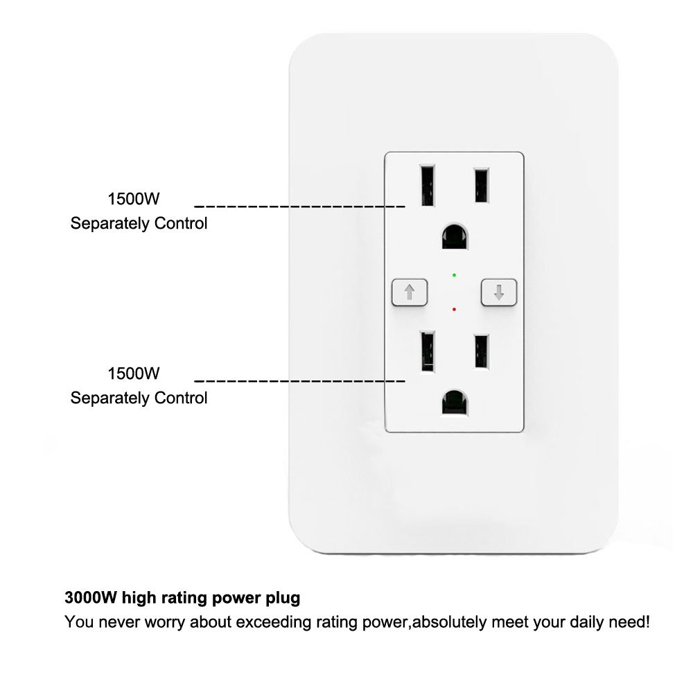 WIFI Smart Plug,LYASI 2500W Wireless Duplex Receptacle Outlet Socket Wall,Works with Amazon Alexa and Google Home,Remote Control,Timing Function,Overload Protection,Control Separately for Dual Outlets