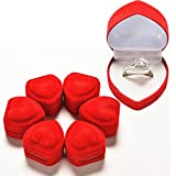 DeemoShop Mini Cute Red Carrying Cases Foldable Red Heart Shaped Ring Box for Rings Lid Open Velvet Display Box Jewelry Packaging 1Pcs Hot