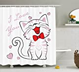Ambesonne Cat Lover Decor Collection, Cheerful Cat with Bow Tie and ''I Love You'' Message Hearts Joyful Artwork, Polyester Fabric Bathroom Shower Curtain Set with Hooks, Pink Red
