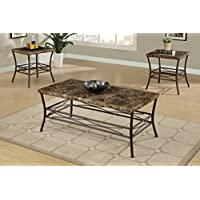 Poundex 3 Piece Table Set with Faux Marble Top and Dark Bronze Metal Base