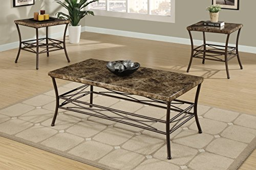 Poundex PDEX-F3097 3 Piece Table Set with Faux Marble Top and Dark Bronze Metal Base, Multi