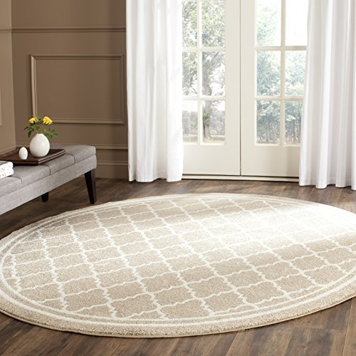 Safavieh Amherst Collection AMT422S Wheat and Beige Indoor/ Outdoor Round Area Rug (7' Diameter)