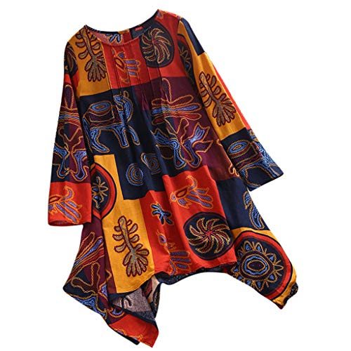 Sunhusing Women's Large Size Cotton and Linen Long-Sleeve Bohemian Ruffled Printed Shirt Loose Tops Orange