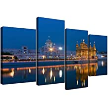 Sikh Canvas Wall Art of the Golden Temple at Amritsar for your Bedroom - 4 Part Large Indian Canvases - 4196 - Wallfillers® by Wallfillers