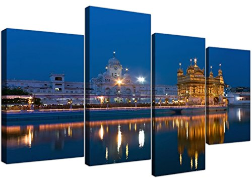 (Large Sikh Canvas Wall Art Pictures of the Golden Temple at Amritsar - Set of 4 - Multi Panel Artwork - Modern Split Canvases - XL - 130cm Wide)