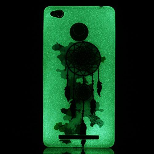 Xiaomi Redmi 3S Gel de Silicona Funda(con Gratis Lápiz táctil) KaseHom Efecto Luminoso Noctilucent Verde Brillan en la Oscuridad Guay Moda Vistoso Patrón Diseño Transparente Ultra Fino DelgadoClaro M Vistoso Atrapasueños
