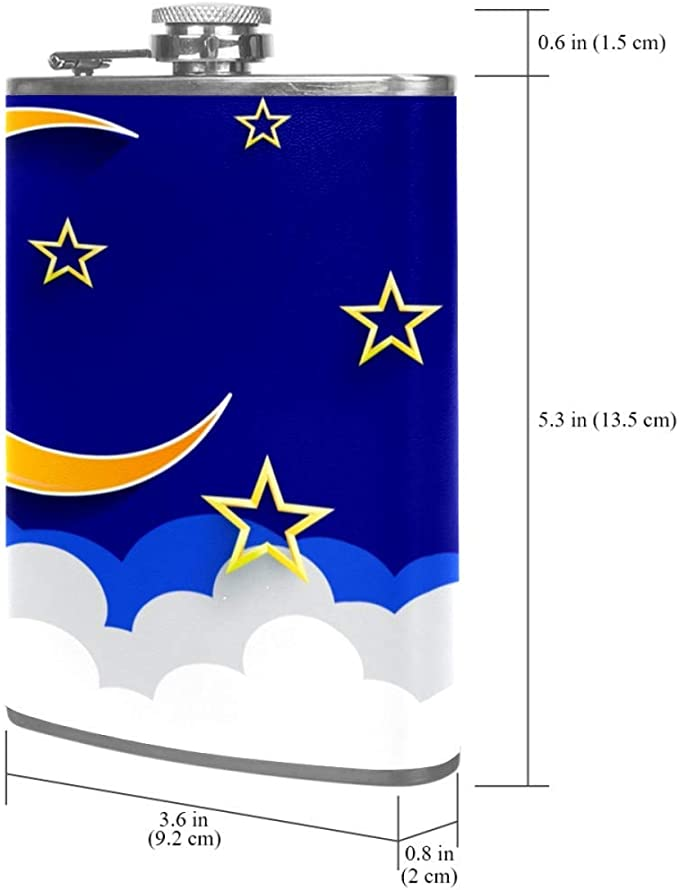 Cielo azul nublado Frasco de la cadera 8 oz con un práctico ...