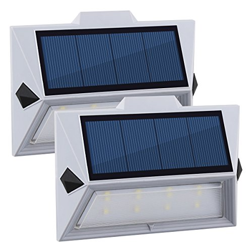 200w Step - [New Product Promotion] GVSHINE Solar Step Lights 8 LED Waterproof Wireless Solar Powered Security Wall Light for Outdoor Patio Deck Yard Garden Fence Driveaway(2 Pack)