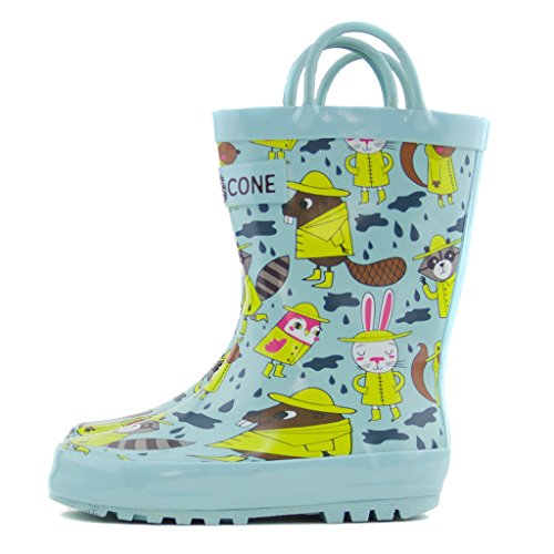 Lone Cone Children's Waterproof Rubber Rain Boots in Fun Patterns with Easy-On Handles Simple For Kids (Rainy Raccoons Boots, 5 M US Toddler)