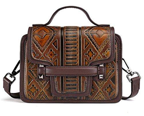 SHFANG Bolso casual de las señoras / arte retro / bolso de mano puro / rampa / paquete cruzado, haciendo compras / trabajando / escuela , dark brown color dark brown color
