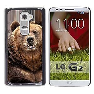 Qstar Arte & diseño plástico duro Fundas Cover Cubre Hard Case Cover para LG G2 / D800 / D802 / D802TA / D803 / VS980 / LS980 ( Bear Cute Furry Animal Nature Beast)