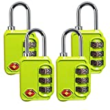 TSA Luggage Locks, 3 Digit Combination Padlocks - Approved Travel Lock for Suitcases & Baggage (Green-4 Pack)