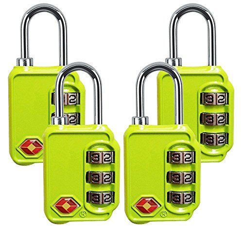TSA Luggage Locks, 3 Digit Combination Padlocks - Approved Travel Lock for Suitcases & Baggage (Green-4 Pack) by Krangear