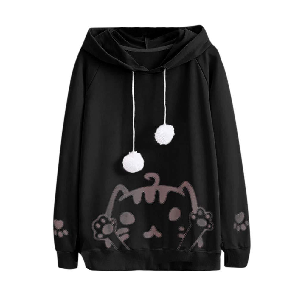 Ulanda Women's Casual Autumn Long Sleeve Hooded Cat Print Hairball Sweatshirt Cute Pullover Tops