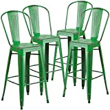 Green Stool Flash Furniture Distressed Green Metal Indoor Barstool (4 Pack), 30