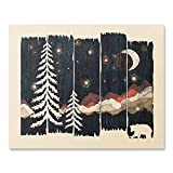 Beautiful Outdoor Starry Night Sky Art Print Wilderness Nature Forest Trees Mountain Lover Wall Art Colorful Moon Bear Peaceful Camping Meditation Wanderlust Illustration Home Decor 18 x 24 Art Print