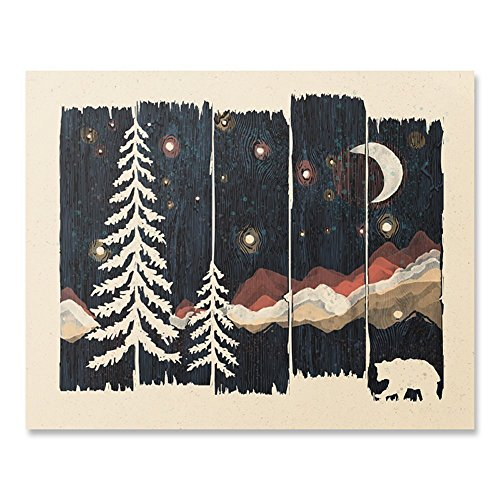 Beautiful Outdoor Starry Night Sky Art Print Wilderness Nature Forest Trees Mountain Lover Wall Art Colorful Moon Bear Peaceful Camping Meditation Wanderlust Illustration Home Decor 8 x 10 Inches (8 Inch Fuzzy Bear)