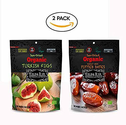 Wild & Raw Sun Dried Organic (Turkish Figs & Deglet Noor Pitted Dates), Bundle Pack of Organic Dried Fruit by Wild & Raw Sun Dried Organic Fruit
