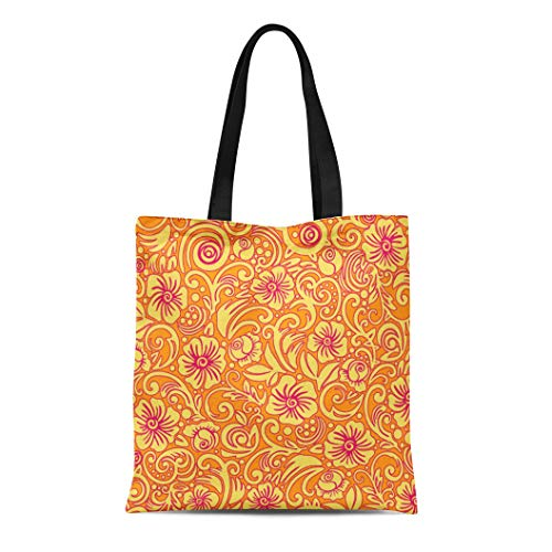 (Semtomn Cotton Line Canvas Tote Bag Orange Flowers Tangerine Floral Pattern Yellow Garden Botanical Light Reusable Handbag Shoulder Grocery Shopping Bags)