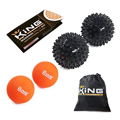 Deluxe Massage Ball (Massage Ball Set 6-in-1 - Muscle Recovery for Athletes - Two (2) Trigger Point Spiky Balls and Two (2) Natural Rubber Lacrosse Balls - Deep Tissue, Myofascial Release, Plantar Fasciitis Therapy)