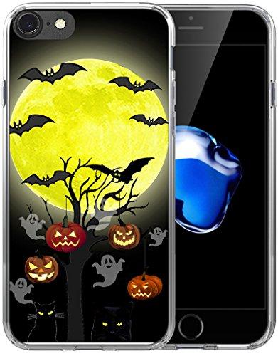 6S Case Halloween Pumpkin/IWONE Designer Non Slip Rubber Durable Protective Skin Cover Shockproof Compatible with iPhone 6S/6 + Halloween Design Gift Present Black Cat Bat ()