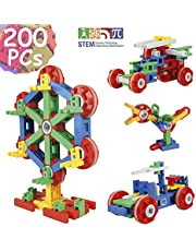 TechMagnet STEM Kids Educational Construction Toys For 3, 4, 5 Year Olds | DIY Building Blocks 200 Pieces Build Ferris Wheel, Car, Helicopter & More | STEM Kids Learning Toys Age 3, 4, 5, 6, 7, 8