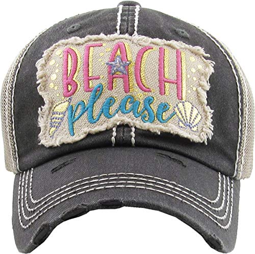 H-212-BPM06 Distressed Baseball Cap - Beach Please Metallic (Black)