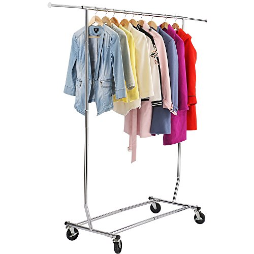 Chinashow Rolling Clothes Rack Adjustable Garment Rack Porta