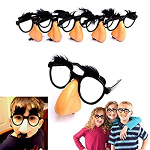 Classic Disguise | Great Party Favor| Disguise Glasses with Funny Nose, Eyebrows & Mustache Glasses | Pack of 6 | Manufactured By Dazzling Toys