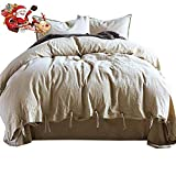 Larger Than King Size Comforter LifeTB Luxury 3 Piece Bedding Duvet Cover Sets King Size 100% Natural Linen Cotton Duvet Comforter Cover Set Straps Closure Soft and Smooth Bamboo-Linen Weave Bedding Sets King