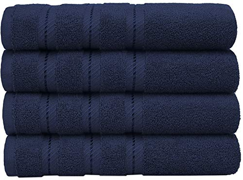 AmericanSoftLinen Luxury Hotel & Spa Quality, Cotton, 16x28 Inches 4-Piece Turkish Hand Towel Set for Maximum Softness & Absorbency, Dry Quickly, Navy Blue