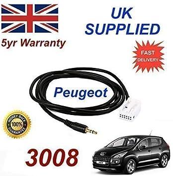 Peugeot 3008Modelo de 3.5mm Adaptador de entrada de AUX Cable a ...