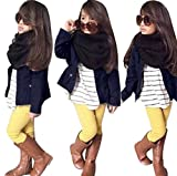 Franterd Baby Girls Clothes Set, Long Sleeve T-Shirt Tops+Coat+Pants Outfits (Navy, 5T)