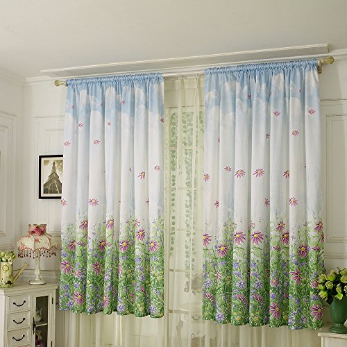 1 Panel Semi Blackout Curtain for Bedroom Rod Pocket Top Window Curtain Floral Sheer Curtain Panels Voile Drape Valances for Living Room - 78.7X39.4