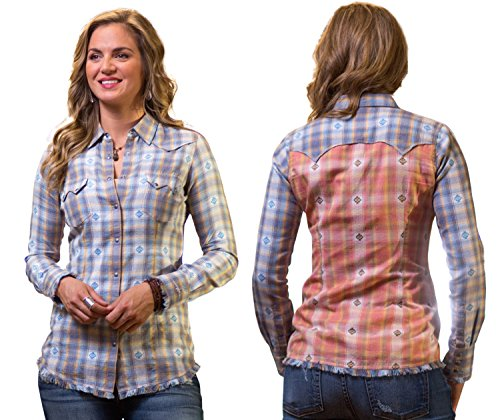Ryan Michael Raw Edge Hem Contrast Thread Star Snaps Women's Plaid Western Shirt