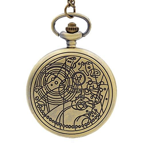 Retro Quartz Pocket Watch Necklace Pendant Mens Womens Bronze ()