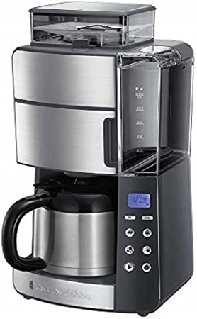 Russell Hobbs Grind & Brew - Cafetera de goteo (jarra de vidrio para 10 tazas, 1000 W, molinillo, Gris) ref. 25620-56: Amazon.es: Hogar