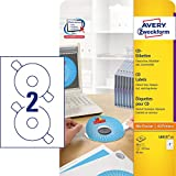 Avery Zweckform L6015-25 CD Labels ClassicSize Diameter 117 for Opaque Labelling with Centralising Aid