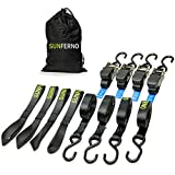 Sunferno Ratchet Straps Tie Down 2500Lbs Break Strength, 15 Foot - Exceptionally Heavy Duty Straps to Safely Move your Motorcycle and Cargo - Includes 4 pack Soft Loop Straps - Black (4 pack)