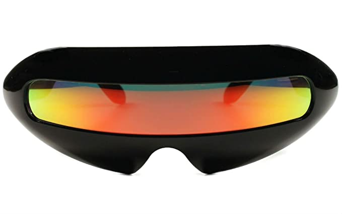 ed98d632e197 Image Unavailable. Image not available for. Color  Futuristic Cyclops  Mirror Single Lens Oval Sunglasses ...