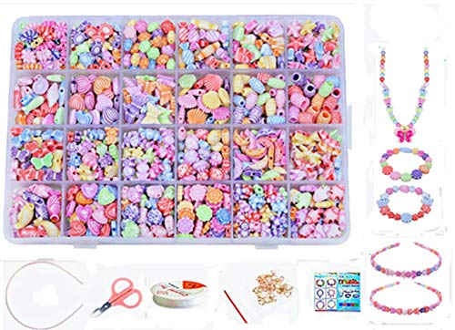 Flower String Bracelet Jewelry - Vytung Beads Set for Jewelry Making Kids Adults Children Craft DIY Necklace Bracelets Letter Alphabet Colorful Acrylic Crafting Beads Kit Box with Accessories(Color#3)