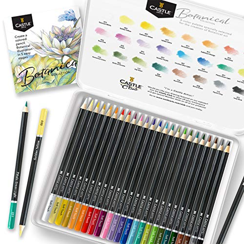 Castle Arts Themed 24 Colored Pencil Set in Tin Box, perfect colors for 'Botanical' Art. Featuring, smooth colored cores, superior blending & layering performance for great results