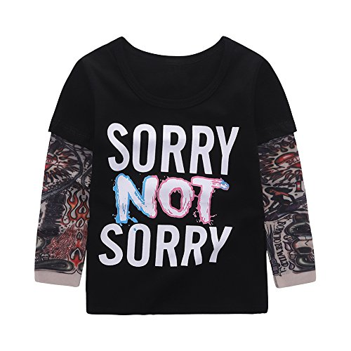 Fashion Boys Stylish Printed Patchwork Tattoo Sleeve T-Shirt Sorry 6T