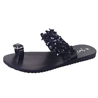 ed9a30f7ce19 Kasien Women s Rhinestone Open Toe Shoes Bohemia Casual Non-Slip Flat  Sandals Slippers (Black