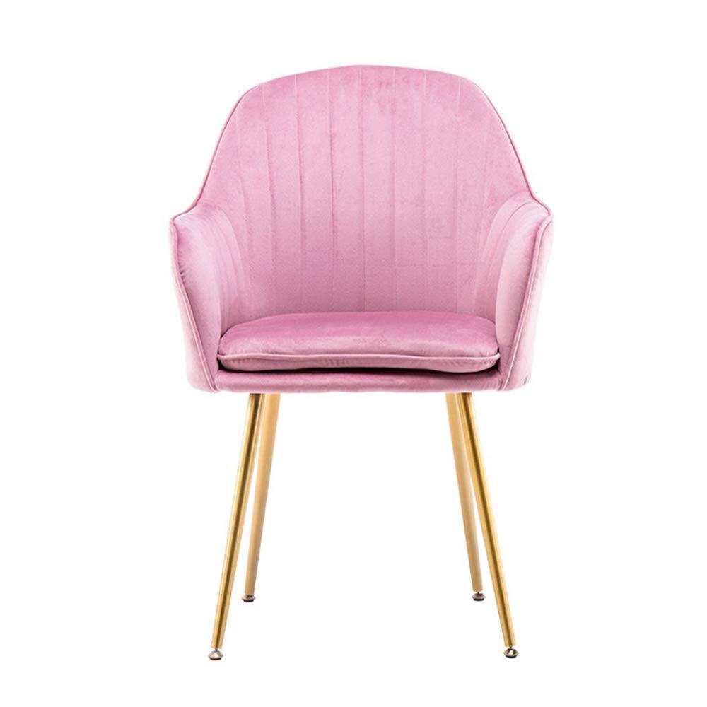Chyuanhua Dressing Hocker Zwischen Samtsessel Modernen Freizeit-Stuhl Polsterstuhl Mit Goldauflage Beine Tisch Hocker Dressing Make-up-Stuhl (Farbe : Rosa, Größe : 45X45X85CM)