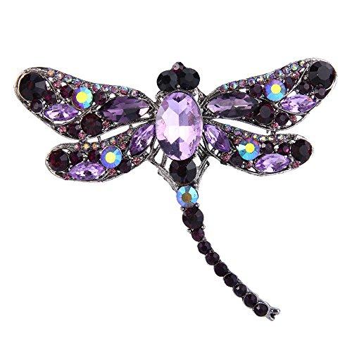 EVER FAITH Dragonfly Silver-Tone Teardrop Brooch Pin Purple Austrian Crystal