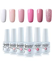 Vishine Gel Nail Polish Kit Set of 6 Color French Manicure White Pink Series UV LED Soak Off Gel 8ml Professional Nail Art Gift Set 8ml