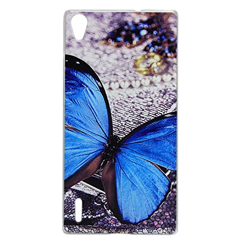 Harryshell(TM) HUAWEI Ascend P7 Case,Fashion Blue Butterfly Printing Hard Protective Case for HUAWEI Ascend P7 P7-L10 (22)