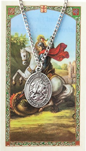 - Pewter Saint St George Medal with Laminated Holy Card, 1 1/16 Inch